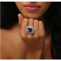 14KT White Gold GIA Certified 14.80ct Tanzanite and Diamond Ring