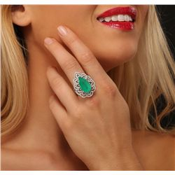 14KT White Gold 8.59ct Emerald and Diamond Ring