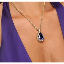 14KT Yellow Gold 27.66ct Tanzanite and Diamond Pendant With Chain
