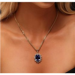 14KT Yellow Gold 15.89ct GIA Certified Tanzanite and Diamond Pendant With Chain