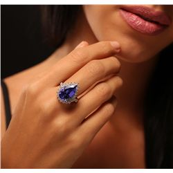 14KT White Gold 9.90ct GIA Certified Tanzanite and Diamond Ring