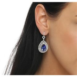 14KT White Gold 10.62ctw Tanzanite and Diamond Earrings