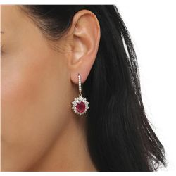 14KT Yellow Gold 5.76ctw Ruby and Diamond Earrings