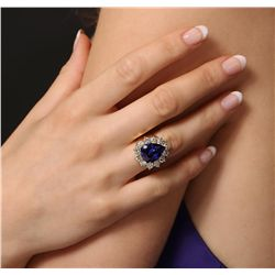 14KT Yellow Gold 8.37ct GIA Certified Tanzanite and Diamond Ring