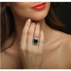 14KT White Gold 7.86ct Emerald and Diamond Ring