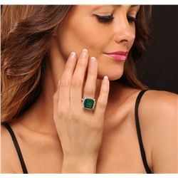 14KT White Gold 8.82ct Emerald and Diamond Ring