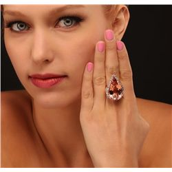 14KT Rose Gold GIA Certified 36.39ct Morganite and Diamond Ring