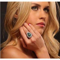 14KT White Gold 9.01ct Emerald and Diamond Ring