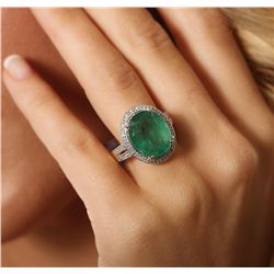 14KT Yellow Gold 7.61ct Emerald and Diamond Ring