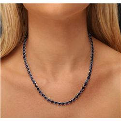 14KT White Gold 35.28ctw Sapphire and Diamond Necklace