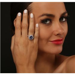 14KT Two-Tone Gold 3.28ct Tanzanite and Diamond Ring
