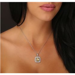 14KT White Gold 3.50ct Sapphire and Diamond Pendant With Chain