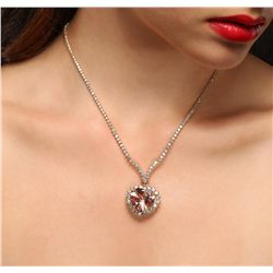 14KT Rose Gold 16.13ct GIA Cert Morganite and Diamond Necklace