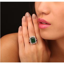 14KT Yellow Gold 7.59ct Emerald and Diamond Ring