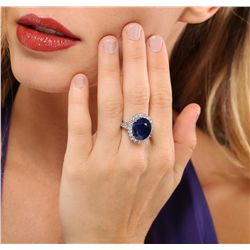 14KT White Gold 11.05ct Sapphire and Diamond Ring