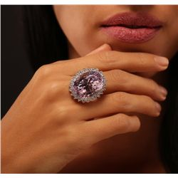 14KT White Gold 40.04ct GIA Certified Kunzite and Diamond Ring