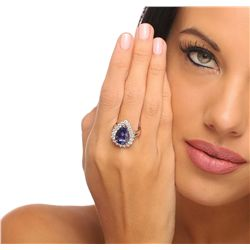 14KT Two-Tone Gold 7.64ct Tanzanite and Diamond Ring