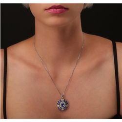 14KT White Gold 9.54ctw Tanzanite and Diamond Pendant With Chain