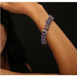 14KT White Gold 30.22ctw Tanzanite and Diamond Bracelet
