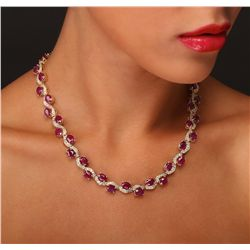 14KT Yellow Gold 44.29ctw Ruby and Diamond Necklace