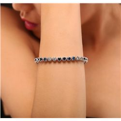14KT White Gold 5.88ctw Sapphire and Diamond Bracelet