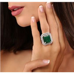 14KT White Gold 14.86ct Emerald and Diamond Ring