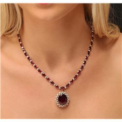 14KT Yellow Gold 44.70ctw Ruby and Diamond Necklace