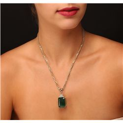 14KT Yellow Gold GIA Certified 38.72ct Emerald and Diamond Pendant With Chain
