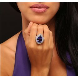 14KT White Gold 14.82ct GIA Certified Tanzanite and Diamond Ring