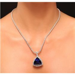 14KT White Gold 46.34ct GIA Certified Tanzanite and Diamond Pendant With Chain