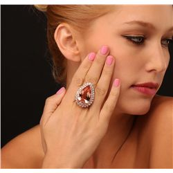 14KT Rose Gold GIA Certified 25.97ct Morganite and Diamond Ring
