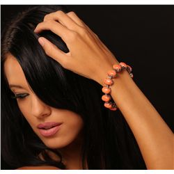 14KT White Gold 64.92ctw Coral and Diamond Bracelet