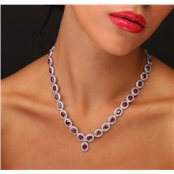 14KT White Gold 27.75ctw Ruby and Diamond Necklace