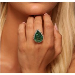 14KT Yellow Gold 19.13ct GIA Certified Emerald and Diamond Ring