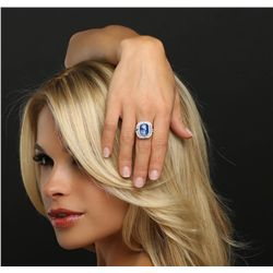 18KT White Gold GRS Certified 9.57ct Sapphire and Diamond Ring