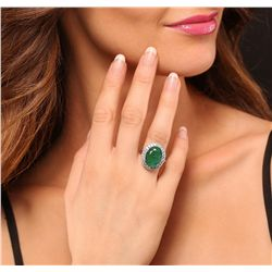 14KT White Gold 6.74ct Emerald and Diamond Ring