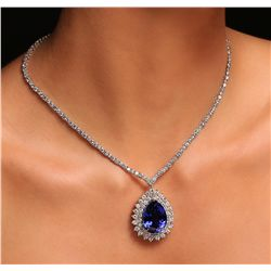 18KT White Gold 33.91ct GIA Certified Tanzanite and Diamond Necklace