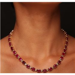 14KT Yellow Gold 52.70ctw Ruby and Diamond Necklace