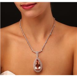 14KT Rose Gold GIA Certified 42.02ct Morganite and Diamond Pendant With Chain