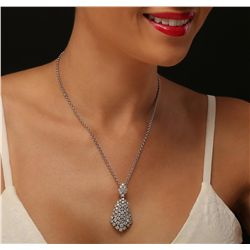 14KT White Gold 5.96ctw Diamond Pendant With Chain