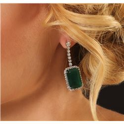 14KT White Gold 30.47ctw Emerald and Diamond Dangle Earrings