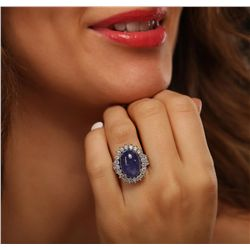 14KT Two-Tone Gold 11.82ct Tanzanite and Diamond Ring