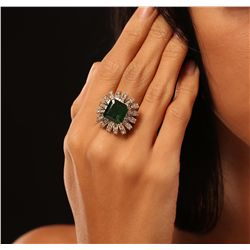 14KT Yellow Gold 6.43ct Emerald and Diamond Ring