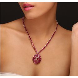 14KT Yellow Gold 54.73ct Ruby and Diamond Necklace