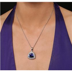 14KT White Gold 8.83ct GIA Cert Tanzanite & Diamond Pendant with Chain