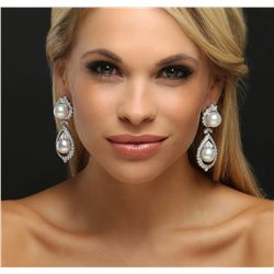 18KT White Gold 4.75ctw Diamond and Pearl Earrings