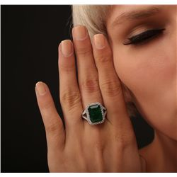 14KT Two-Tone 6.53ct Emerald and Diamond Ring