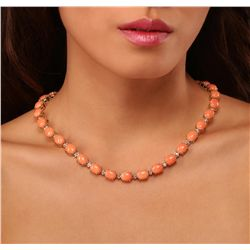14KT Yellow Gold 66.00ctw Coral and Diamond Necklace