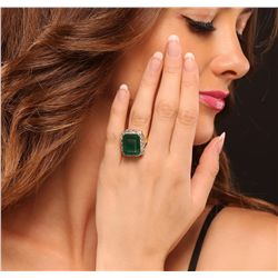14KT Yellow Gold 10.79ct Emerald and Diamond Ring