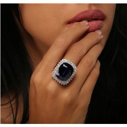 14KT White Gold GIA Certified 29.75ct Tanzanite and Diamond Ring